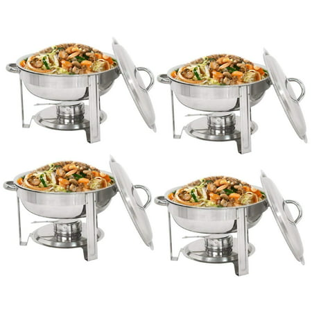 Zeny Pack of 4 Full Size Round Chafing Dish 5 Quart Stainless Steel Tray Buffet Catering, Dinner Serving Buffer Warmer Set