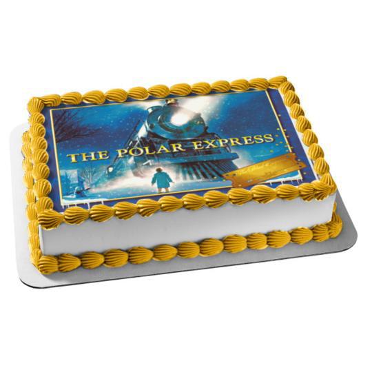 Brilliant The Polar Express Train Snow Edible Cake Topper Image Walmart Funny Birthday Cards Online Fluifree Goldxyz