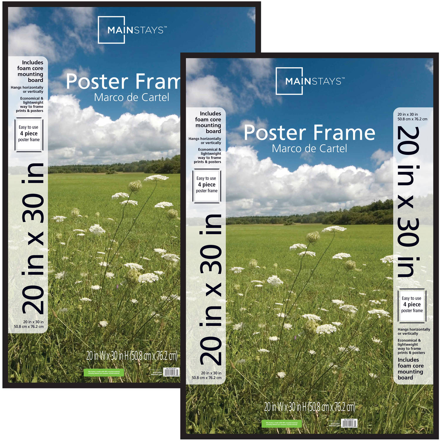mainstays 20x30 basic poster and picture frame black set of 2