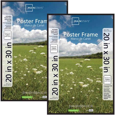 30 In Satin Aluminum Frame (Mainstays 20x30 Basic Poster and Picture Frame, Black, Set of 2)