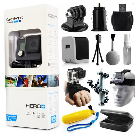 GoPro HERO+ Camera Camcorder (CHDHC-101) with Starter Accessories Package includes Hand Glove Strap + Head Strap + Travel Case + Floating Bobber + Home/Travel Charger + Dust Cleaning Kit + More