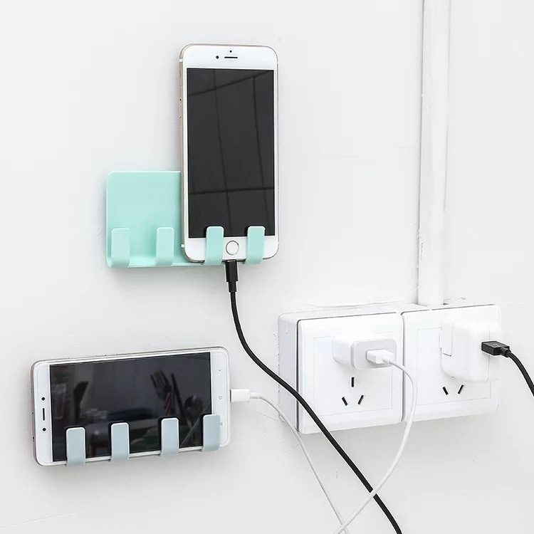 Practical Pop Wall Phone Holder Socket Charging Box Bracket Stand Sticky Holder