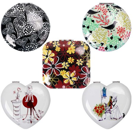 Bmc Womens 5 Pc Mixed Design Alloy Metal Folding Compact Beauty Makeup Mirrors