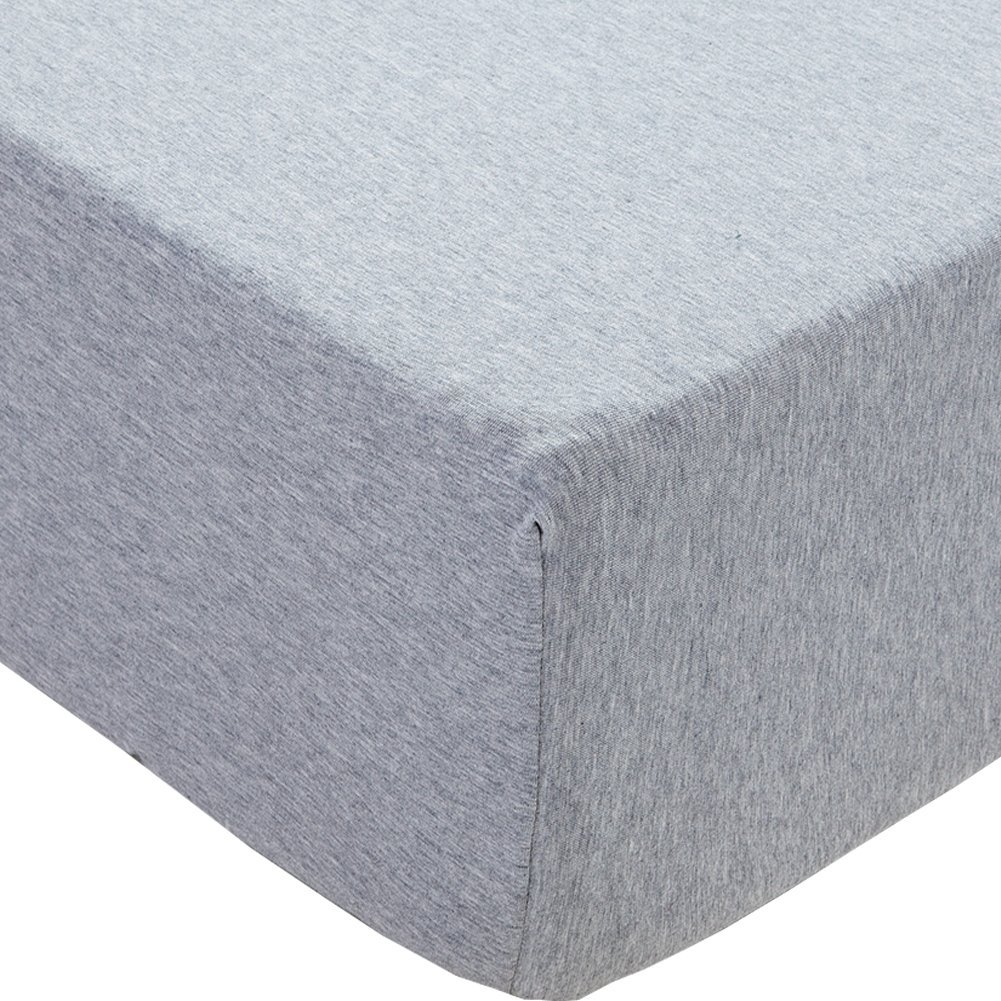 "PURE ERA Jersey Knit Cotton Fitted Bottom Sheet - Deep Pocket Upto 15"" to 20"" , Ultra Soft, Comfy, Breathable, Light Gray Queen Size"