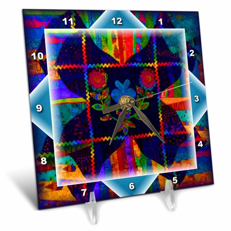 3dRose Colorful Folk Art Quilt - Desk Clock, 6 by 6-inch - Folk Art Halloween Quilts