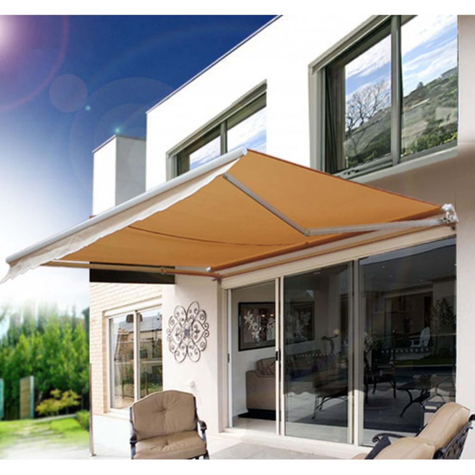 Outsunny 8 x 7 ft. Manual Retractable Sun Shade Patio Awning
