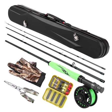 Lightweight Portable Fly Fishing Rod and Reel Combo Carbon Fiber Fly Rod Pole Fly Fishing Gloves Pliers Flies with Carry Case Fly Fishing Complete Package ()