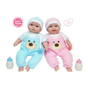 JC Toys, Lots to Cuddle Babies 13 inch TWINS Soft Body Baby Dolls - For Children 2 Years and older, Designed by Berenguer.