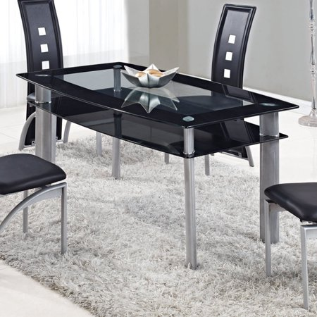 Global Furniture Rectangular Gl Dining Table With Trim