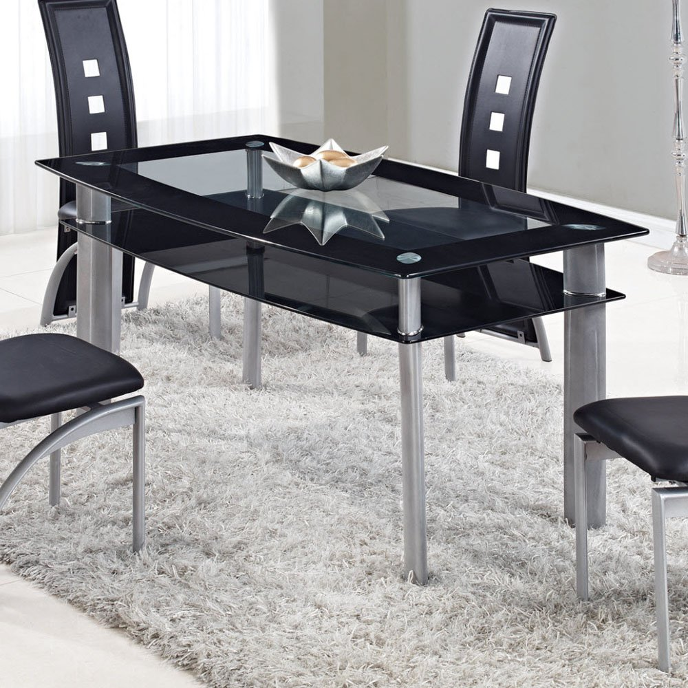 Global Furniture Rectangular Glass Dining Table with Trim