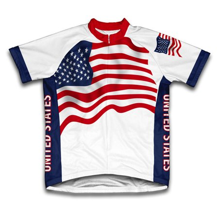 United States Flag Short Sleeve Cycling Jersey  for Men - Size -