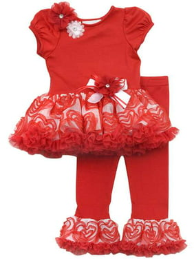 My Little Valentine - Red/ White Flower Tutu Legging Set SALE 12 months