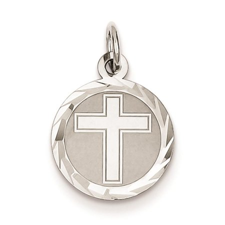 925 Sterling Silver Laser Etched Cross Disc Solid Charm Pendant