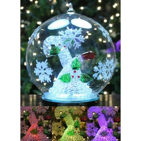 LED Glass Globe Christmas Ornament Candy Cane