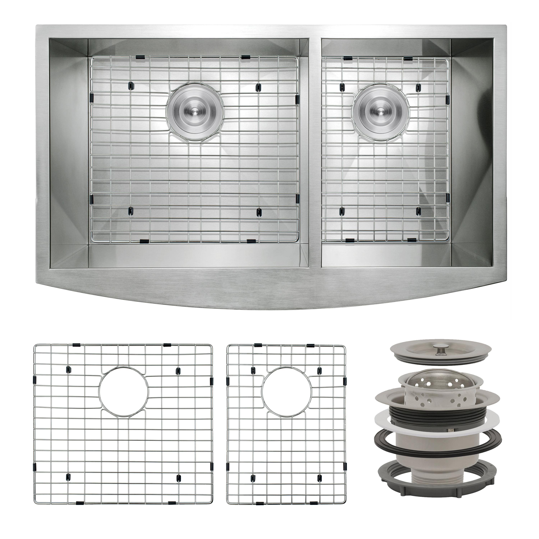 AKDY 32 x 18 x 9 Handmade Under Mount Stainless Steel 60//40 Double Bowl Kitchen Sink w//Drain Strainer Kit /& Dish Grid