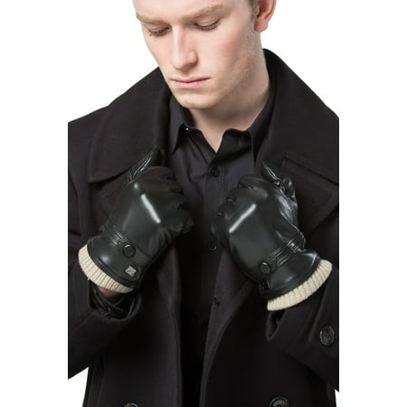 Gallery Seven Mens Faux Leather Warm Winter Gloves - Touch Screen Texting Glove - Gift Wrapt - Black Style 1 -
