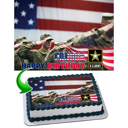 U.S. Army Cake Edible Image Cake Topper Personalized Birthday 1/4 Sheet Decoration Custom Sheet Party Birthday Sugar Frosting Transfer Fondant Image Edible Image for cake