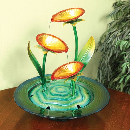 Decorative Gl And Metal Poppies Indoor Water Fountain