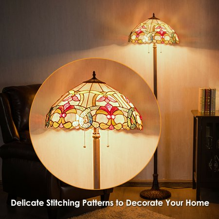 Gymax Tiffany-Style Victorian 2 Light Floor Lamp w/ 18'' Stained Glass Shade Home Decor - image 8 of 10