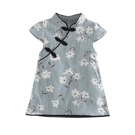 Satin Cheongsam Dress (Summer Baby Girls Children Dress Floral Print Party Cheongsam Dress 0-5T)