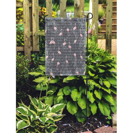 JSDART Pattern Flamingo Flock on Dark Grey Imitation of Text Unreadable Garden Flag Decorative Flag House Banner 28x40 inch - image 2 de 2