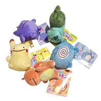 "Pokemon Pikachu Charmander Squirtle Bulbasaur Gengar Poliwag 4"" Plush Toy Set"