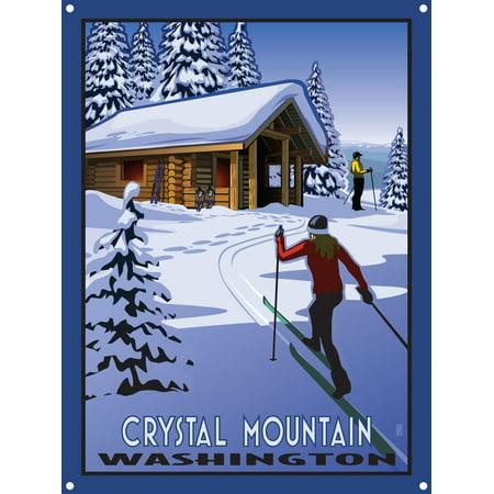 Crystal Mountain Washington Cross Country Skiers & Cabin Metal Art Print by Paul Leighton (9