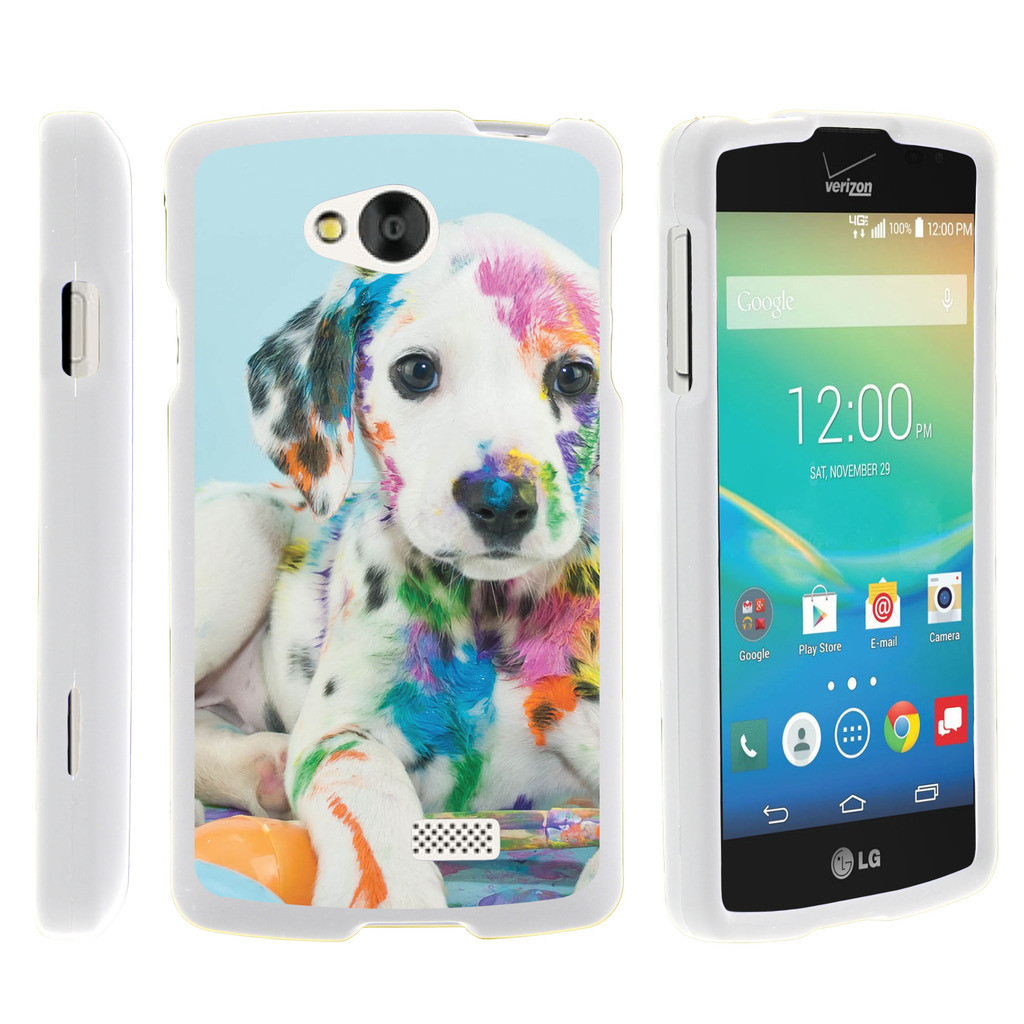 LG Tribute, LG Transpyre, LG Optimus F60, [SNAP SHELL][White] Hard White Plastic Case with Non Slip Matte Coating with Custom Designs - Colorful Puppy