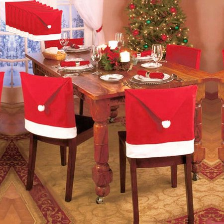 Mosunx 8PCS Santa Hat Chair Covers Christmas Decor Dinner Chair Xmas Cap Sets