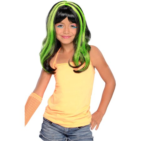 Child Girls 80s Long Black Neon Green Punk Rave Vampire Costume Wig