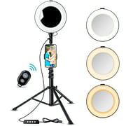 8 inch Ring Light with Tripod Stand - B-Land LED Camera Selfie Light Ring with iPhone Tripod and Phone Holder for Video Photography Makeup Live Streaming,Compatible with iPhone and Android Phone