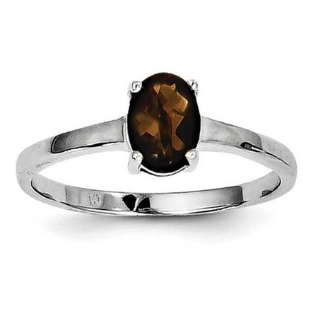 Sterling Silver Rhodium Smokey Quartz Ring. Gem Wt-1.53ct