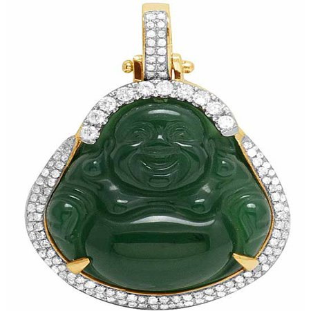 14k Yellow Gold Buddha Charm (10K Yellow Gold Real Diamonds Synthetic Jade Buddha Pendant Charm 9/10 CT 1.6