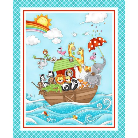 Two by Two Noah's Ark Animal Panel 36'' x 44'' Cotton Fabric by Studio E Cotton Fabric Book Panel