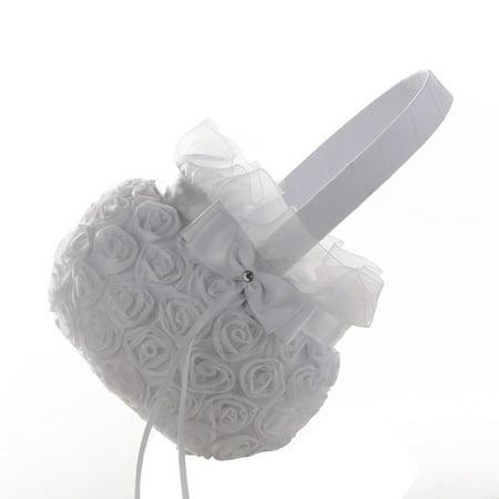 New Romantic Bowknot Silk Cloth Wedding Ceremony Party Rose Flower Girl Basket