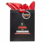 Christian Art Gifts 365537 Gift Bag - Be Strong And Courageous With Tag & Tissue - Medium