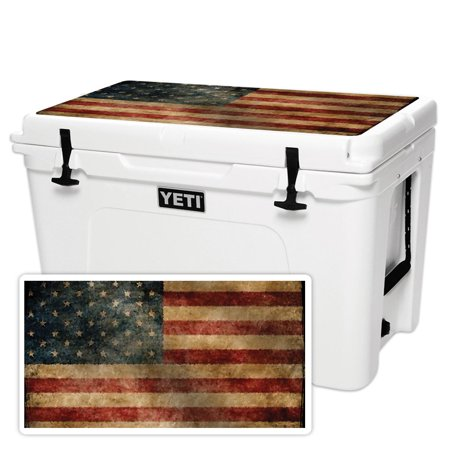 MightySkins Skin Compatible With YETI Tundra 105 qt Cooler Lid - America Strong | Protective, Durable, and Unique Vinyl Decal wrap cover | Easy To Apply, Remove, and Change Styles | Made in the USA ()