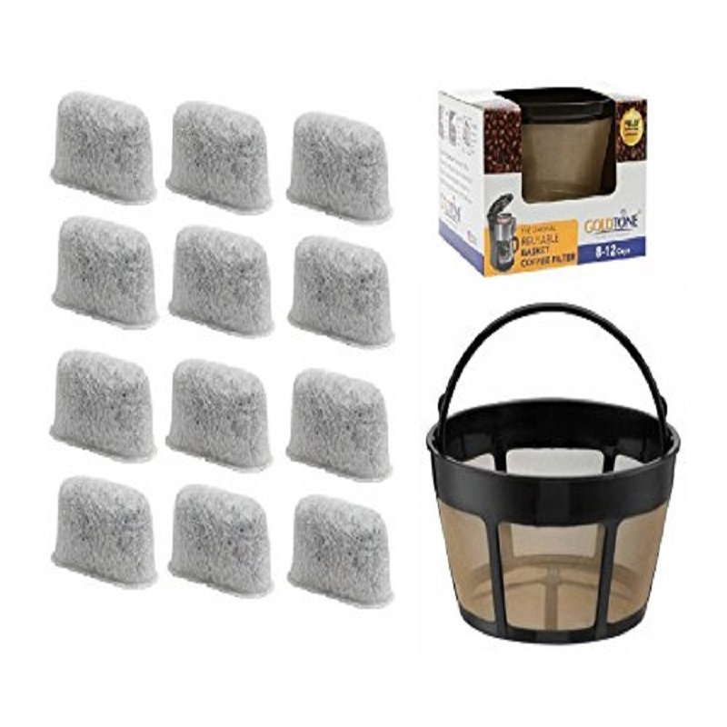 GoldTone Brand 8-12 Cup Basket Coffee Filter and Set of 12 Charcoal Water Filters fits Cuisinart Coffee Makers and Brewers. Replaces your Cuisinart Reusable Coffee Filter and Cuisinart Water Filter