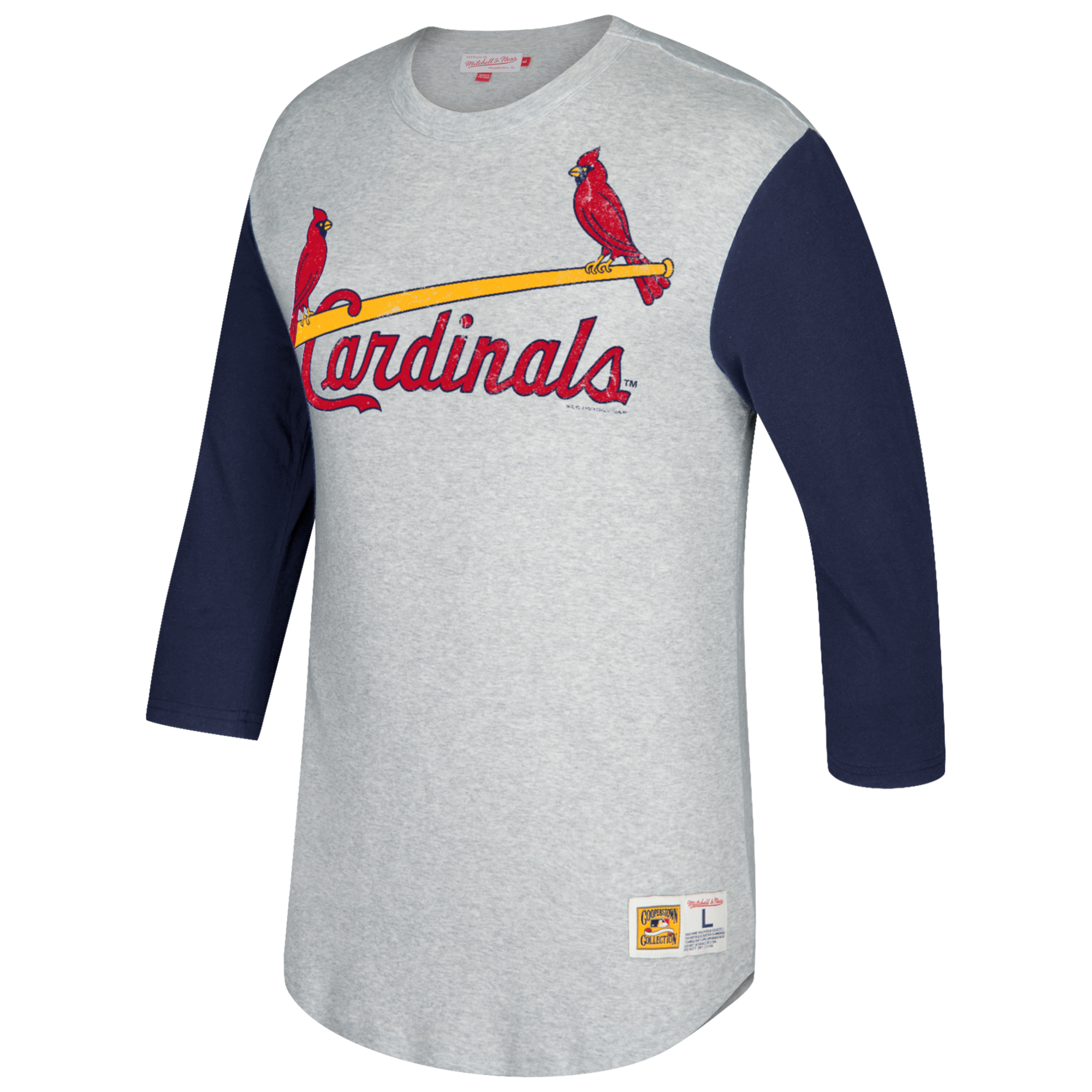 St. Louis Cardinals Mitchell & Ness Scoring Position 3/4-Sleeve T-Shirt - Gray/Navy