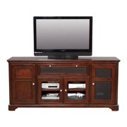 74 In Topaz Multi Media Console in Cherry Finish w Glass Doors
