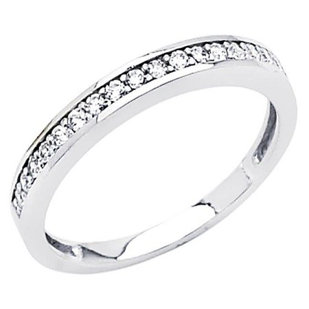 Jewelry 14k White Gold 1/5ct TGW Round-cut Diamonette Channel-Set Wedding Band - image 1 of 1