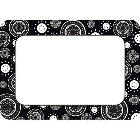 Black White Crazy Circles Name Tags Labels