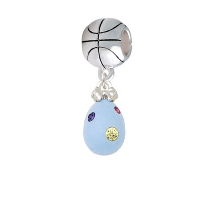 Easter Egg Bead - Light Blue Easter Egg with Multicolored Crystal Dots - Basketball Charm Bead