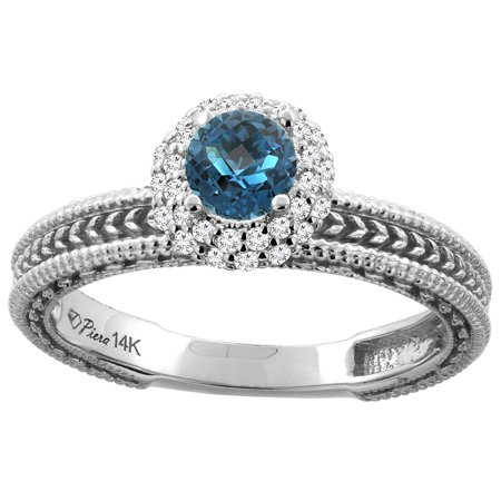 14K Yellow Gold Natural London Blue Topaz & Diamond Engagement Ring Round 5 mm, size 10