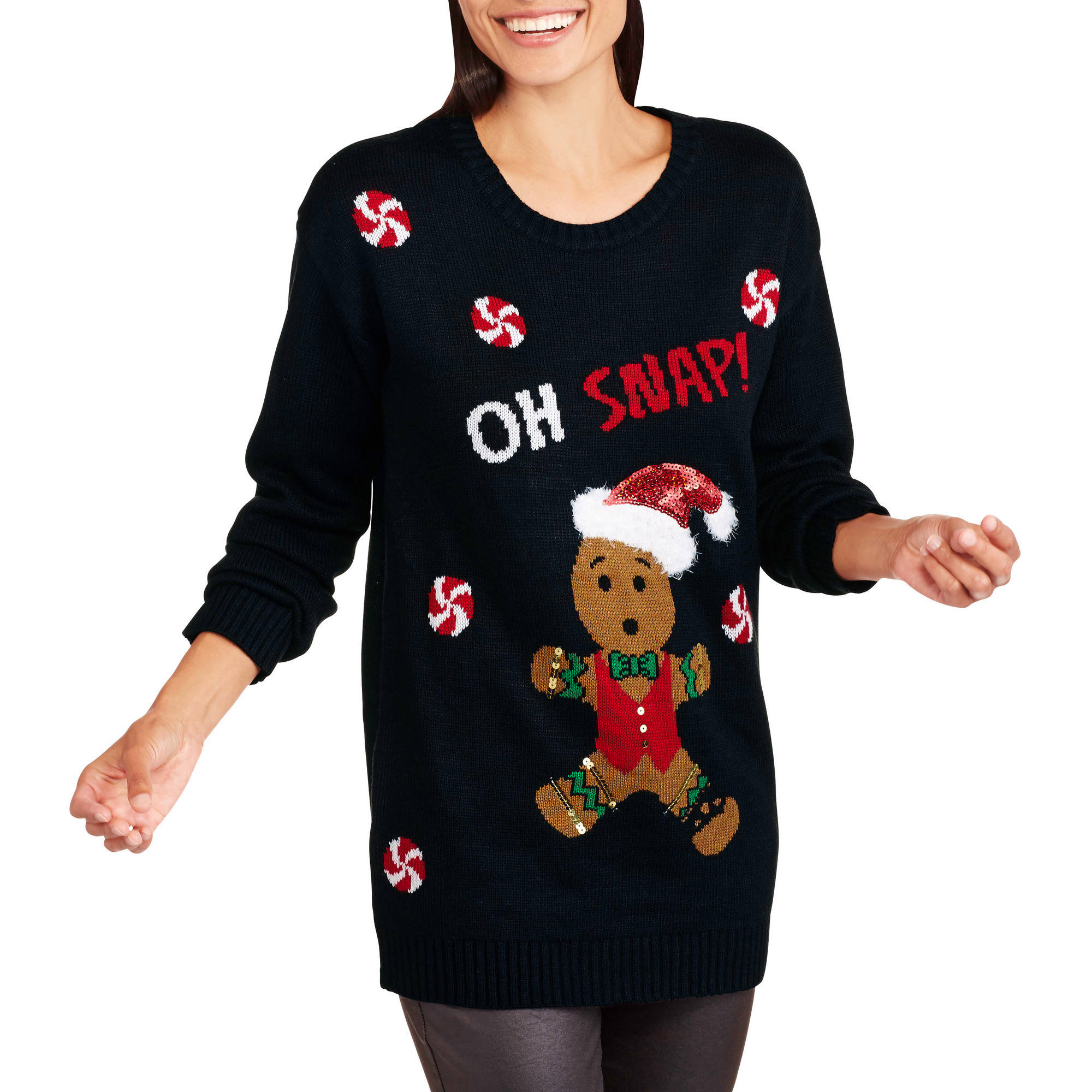 christmas allison brittney womens gingerbread man oh snap christmas sweater walmartcom - Christmas Sweaters Walmart
