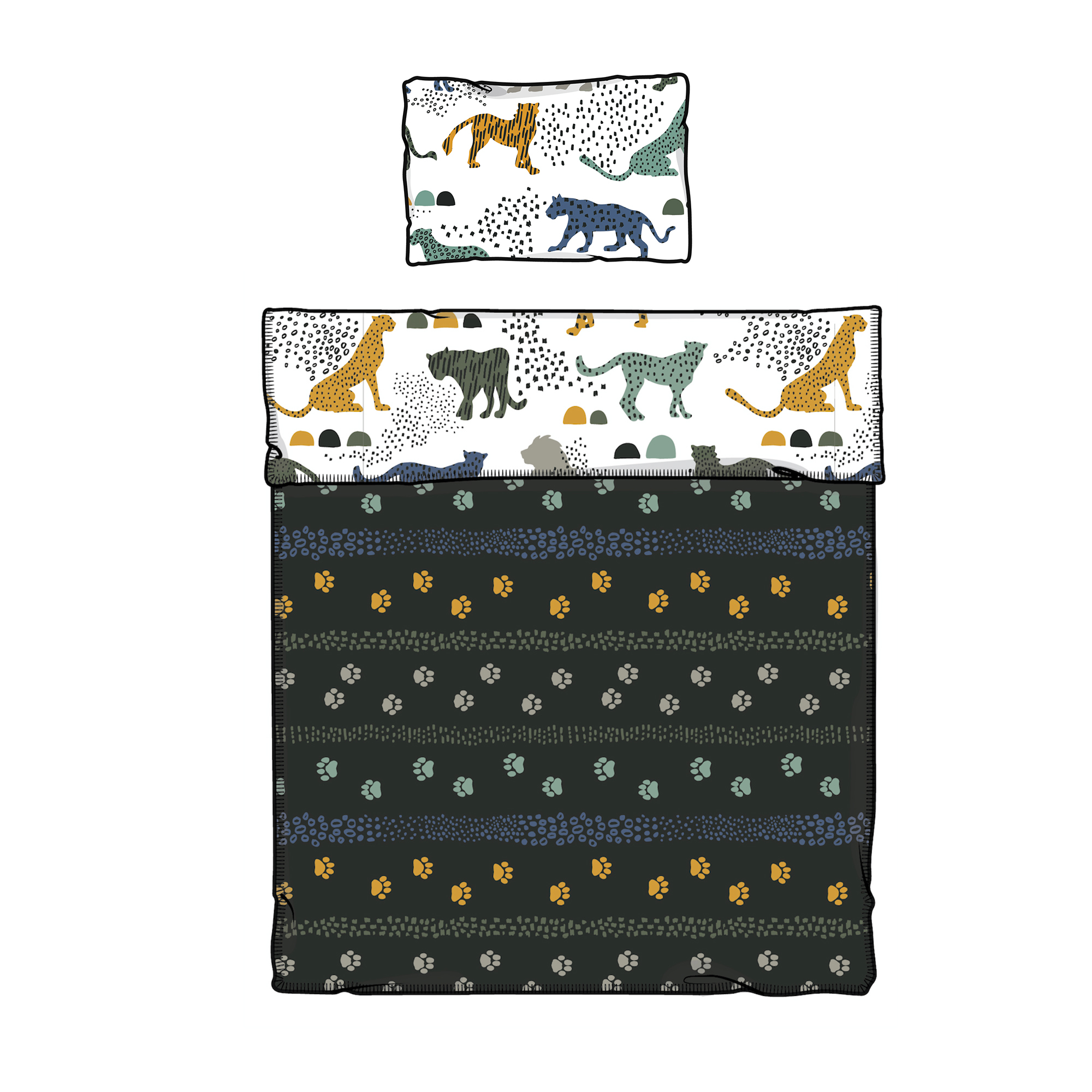 South Shore Dreamit White and Green Comforter and Pillowcase Safari Wild Cats, Multiple Sizes