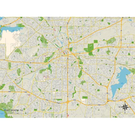 Political Map of Fort Worth, TX Print Wall Art ()