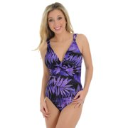 Womens MiracleSuit 1 Piece Bathing Suit Purple Fern Print Sexy Swimsuits Sizes: 12
