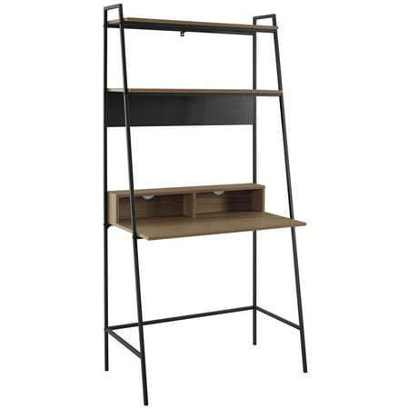 36 inch Metal and Wood Ladder Desk in Medium