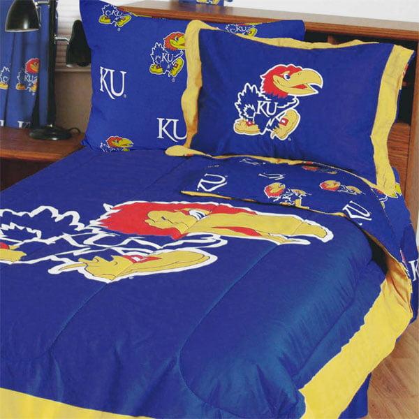 NCAA Kansas Jayhawks Bedding Set Blue Cotton Collegiate Comforter and Sheet Set